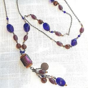 Murano Glass long Necklace Purple Blue